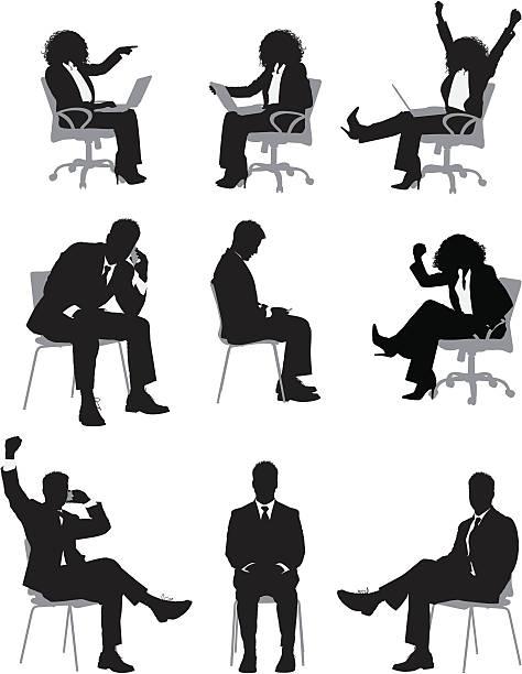 wiele zdjęć business osób siedzi na krześle - siedzieć stock illustrations