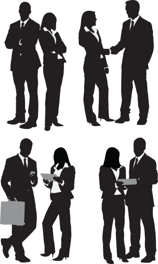 Multiple images of business people