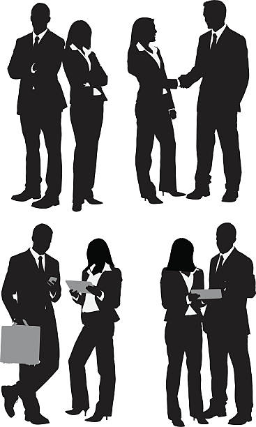 Multiple images of business people vector art illustration