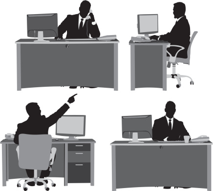 Multiple images of businessman at his desk