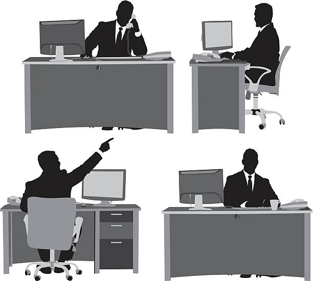stockillustraties, clipart, cartoons en iconen met multiple images of businessman at his desk - overhemd en stropdas