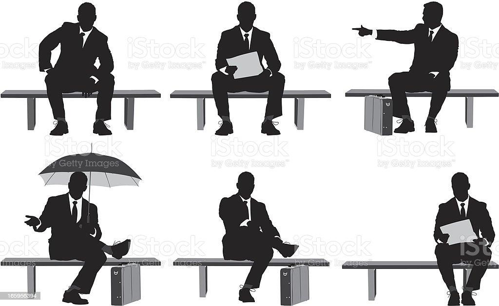 Multiple images of businessman sitting on a bench vector art illustration