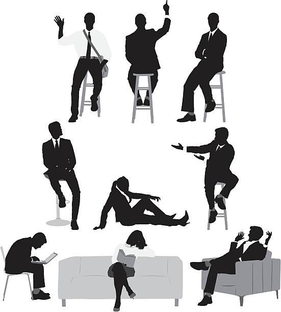 bildbanksillustrationer, clip art samt tecknat material och ikoner med multiple images of businessmen and women - korslagda ben