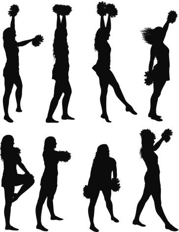 Multiple images of cheerleaders dancing