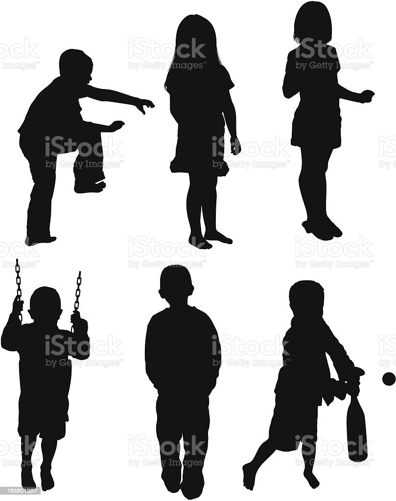 Multiple images of children playing vector art illustration