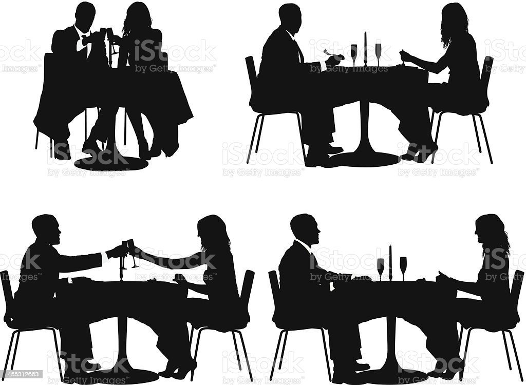 Multiple images of couple sitting in a restaurant royalty-free multiple images of couple sitting in a restaurant stock vector art & more images of adult