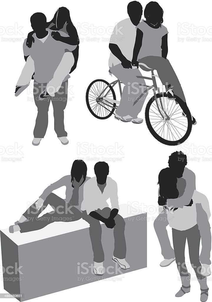 Multiple images of couples vector art illustration