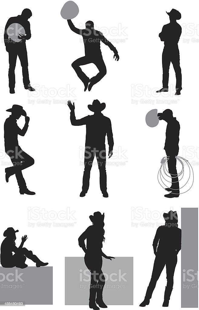 Multiple images of cowboy and coygirl royalty-free stock vector art
