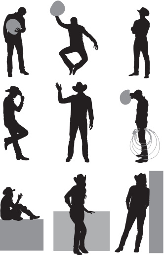 Multiple images of cowboy and coygirl