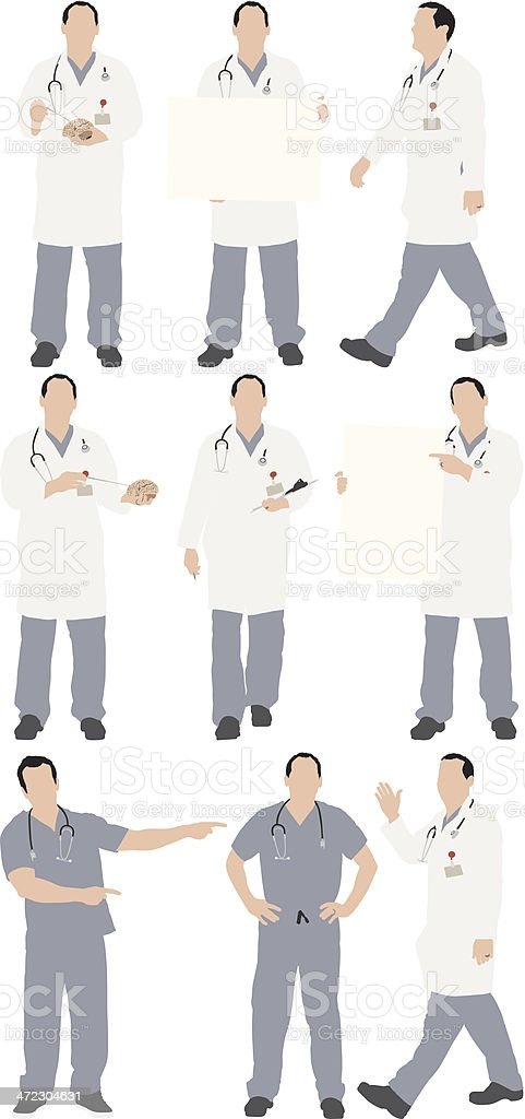 Multiple images of doctor vector art illustration