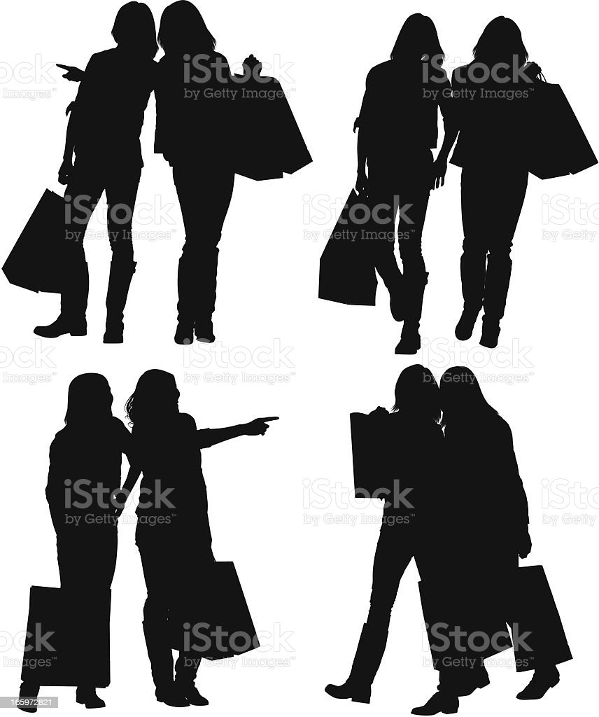 Multiple images of female friends with shopping bags royalty-free stock vector art