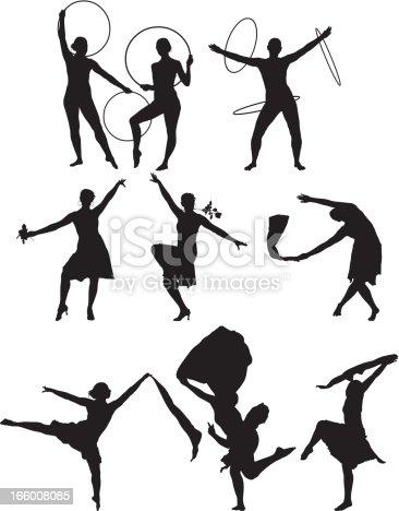 Multiple images of gymnasts dancing using hula hoop
