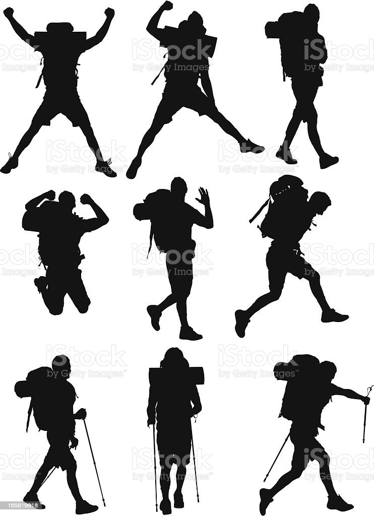 Multiple images of hikers vector art illustration