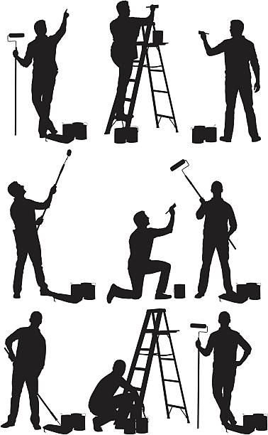 Multiple images of man painting a wall vector art illustration