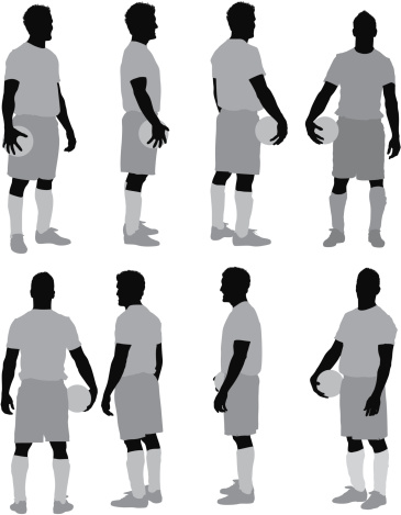 Multiple images of man with a ball
