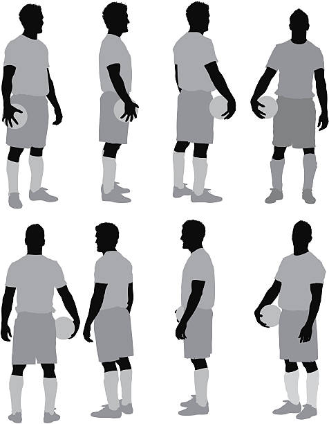 stockillustraties, clipart, cartoons en iconen met multiple images of man with a ball - soccer player