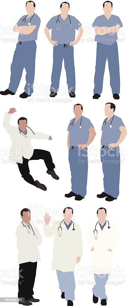Múltiples imágenes de profesionales médicos - ilustración de arte vectorial