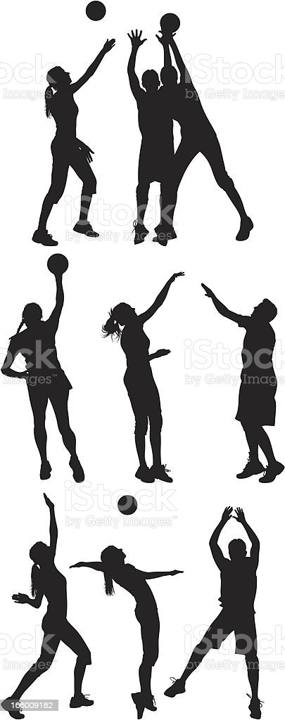 Multiple images of men and women playing volleyball royalty-free stock vector art