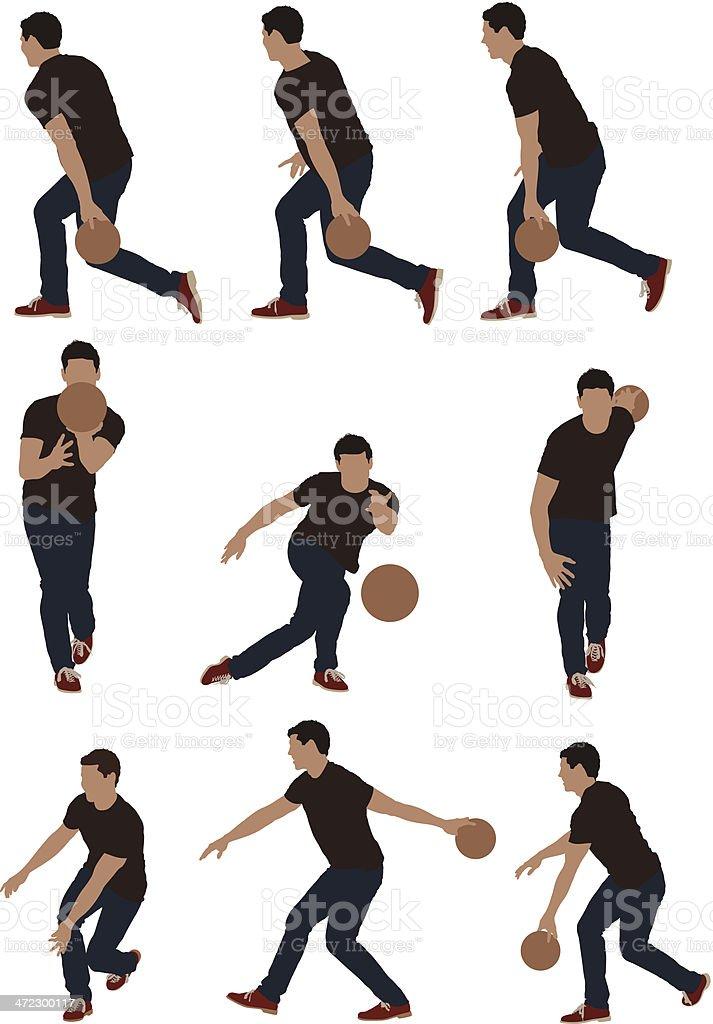 Multiple images of men bowling vector art illustration