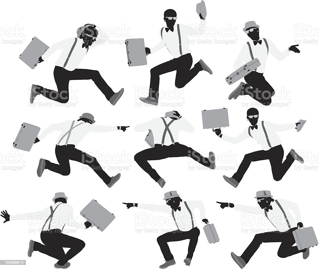 Multiple images of men jumping with a suitcase royalty-free stock vector art