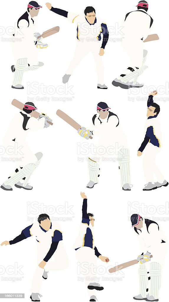 Multiple images of men playing cricket royalty-free stock vector art