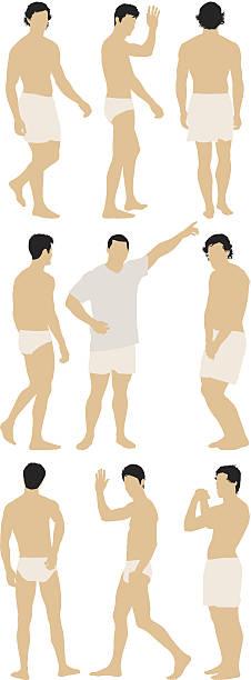 ilustrações de stock, clip art, desenhos animados e ícones de várias imagens de homens roupa interior e gesticular - tronco nu