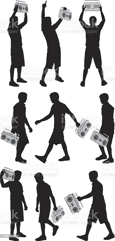 Multiple images of men with boombox vector art illustration