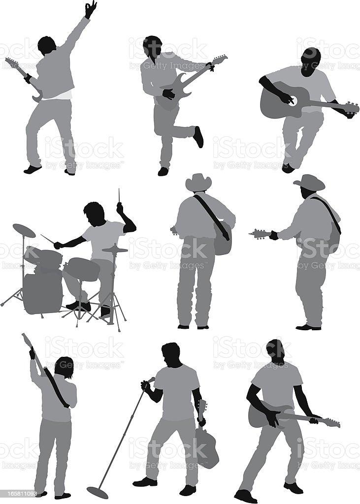 Multiple images of musicians vector art illustration