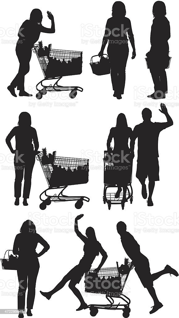 Multiple images of people at supermarket royalty-free multiple images of people at supermarket stock vector art & more images of adult