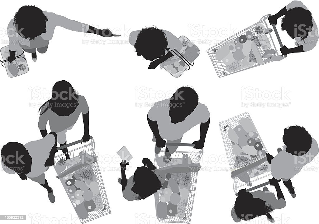 Multiple images of people shopping royalty-free stock vector art