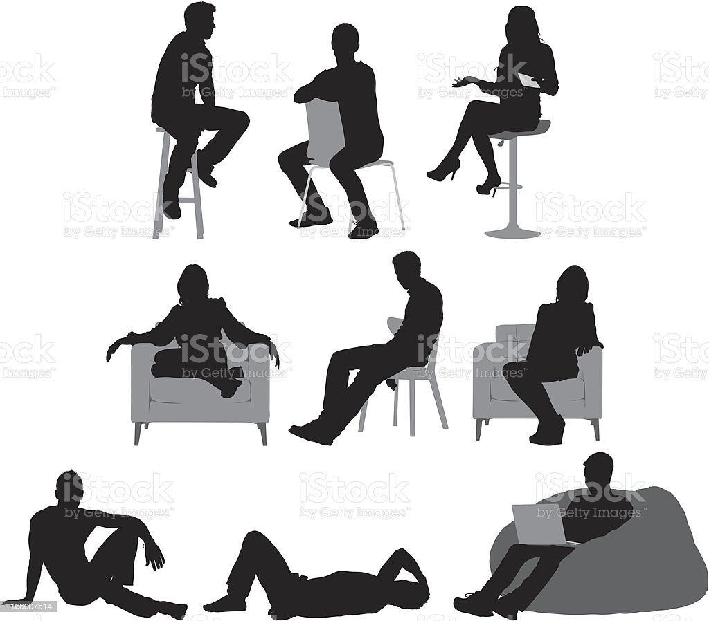 Multiple images of people sitting vector art illustration