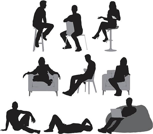 bildbanksillustrationer, clip art samt tecknat material och ikoner med multiple images of people sitting - sitta