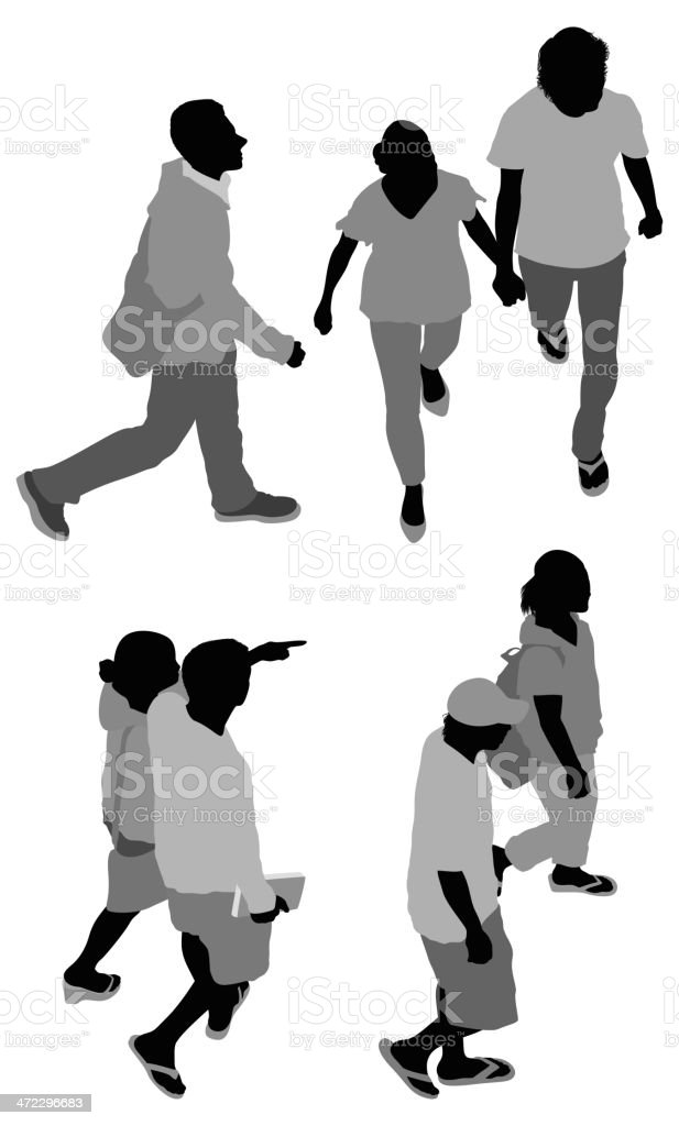 Multiple images of people walking royalty-free stock vector art