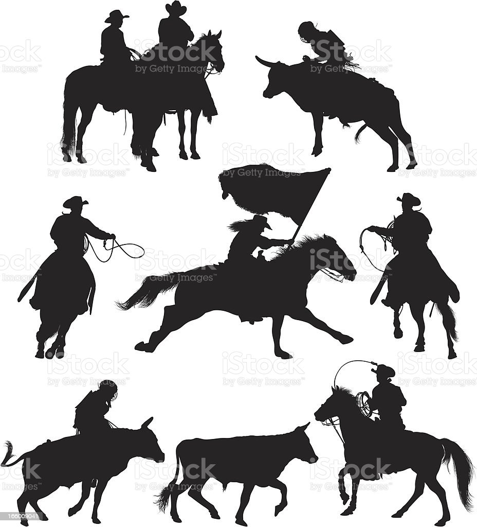 Multiple images of rodeo in action royalty-free stock vector art