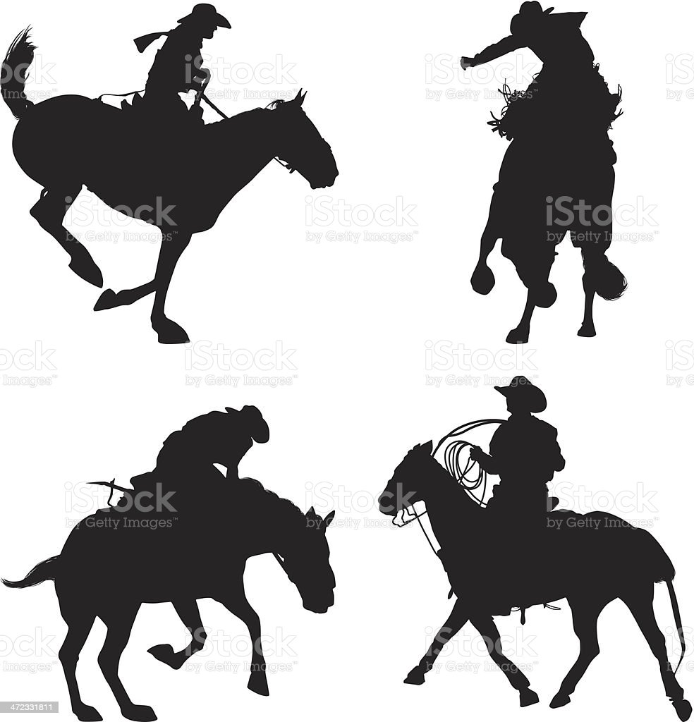 Multiple images of rodeo royalty-free stock vector art