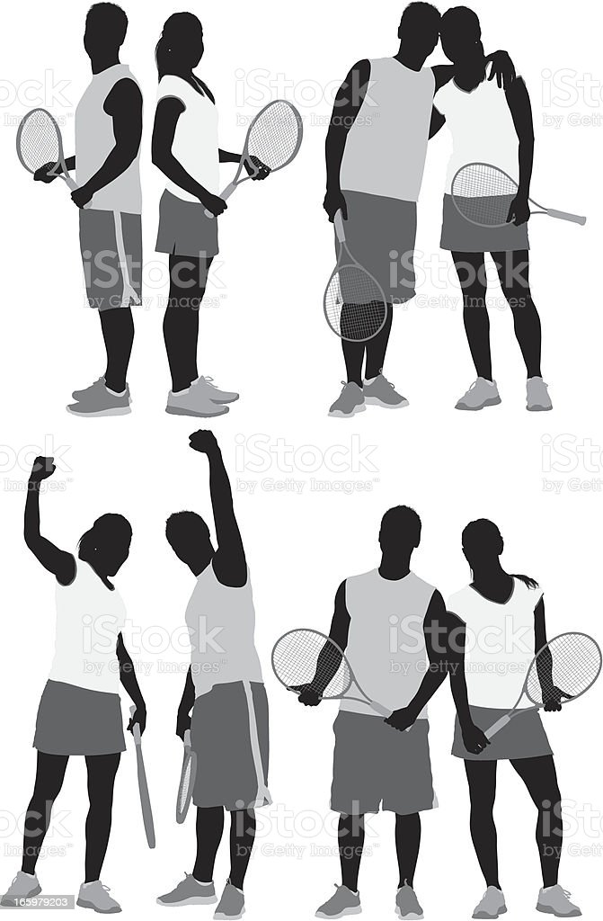 Multiple images of tennis players vector art illustration