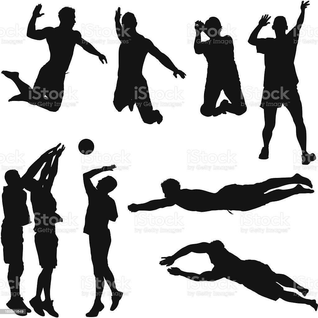 Multiple images of volleyball players in action Multiple images of volleyball players in actionhttp://www.twodozendesign.info/i/1.png Activity stock vector