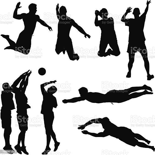 Multiple Images Of Volleyball Players In Action Stock Illustration - Download Image Now