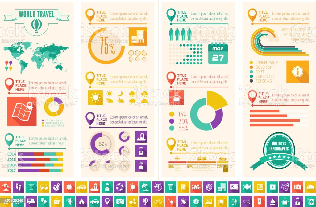 Multiple infographic templates related to travel/holidays vector art illustration