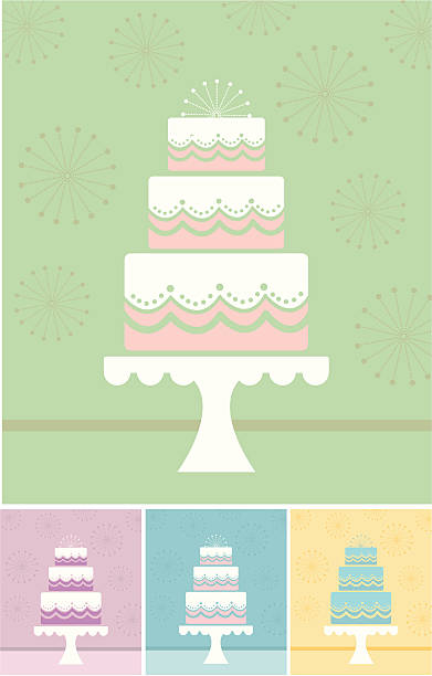 Multiple minimalist illustrations of a wedding cake Wedding cake on top of cake stand. 4 different color options. The file contains jpg, illustratorCS, eps, and pdf wedding cake stock illustrations