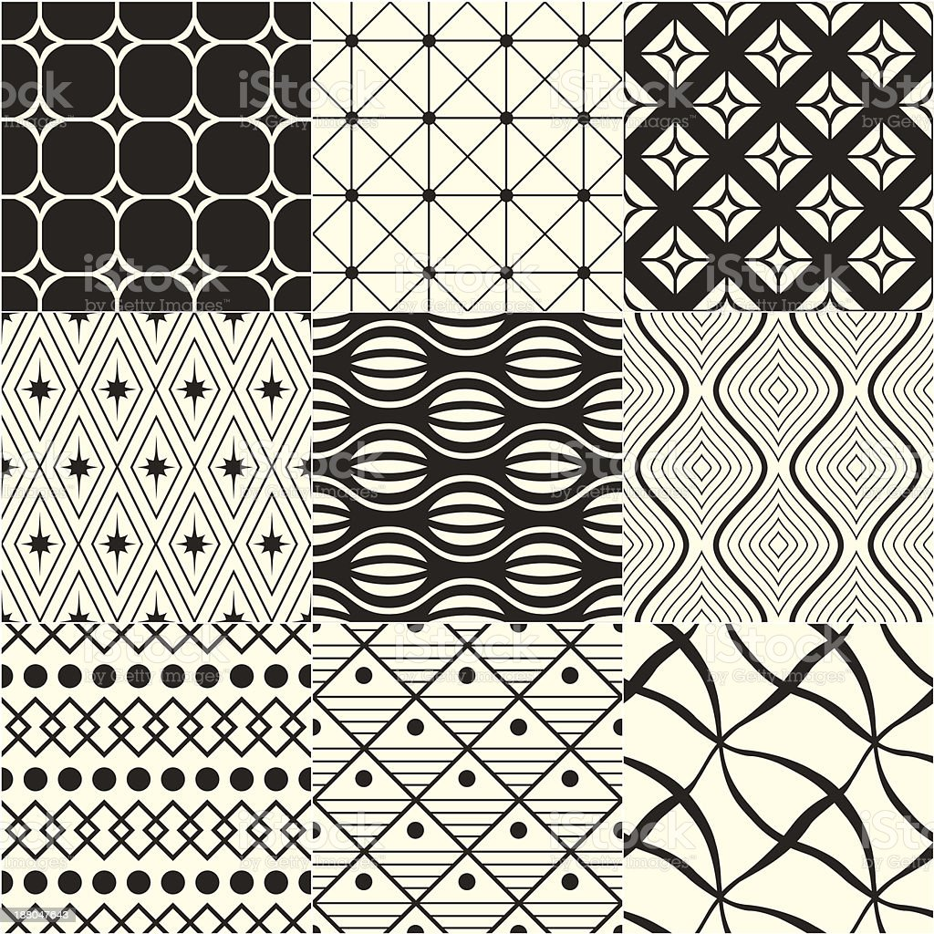Multiple monochrome geometric patterns royalty-free multiple monochrome geometric patterns stock vector art & more images of backgrounds