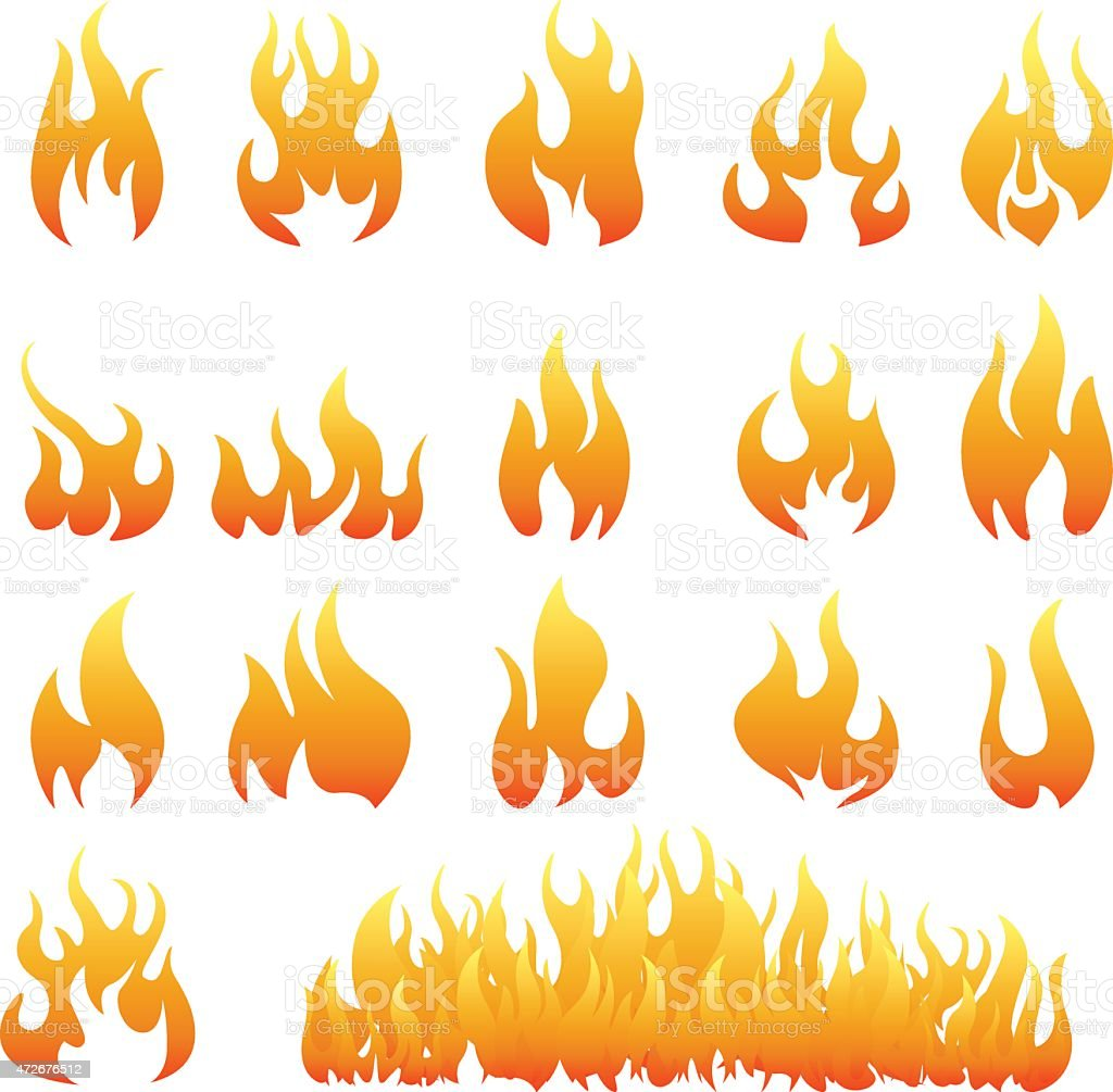 Multiple orange fire icons in different shapes and sizes  vector art illustration