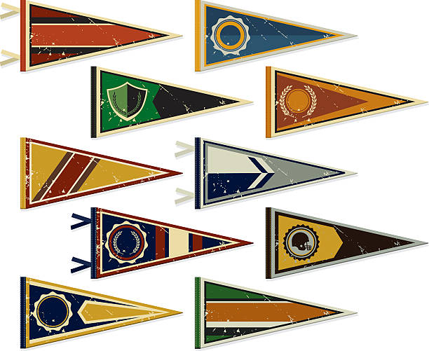 Multiple pennants on a white background Retro Pennants for College and Sports pennant stock illustrations