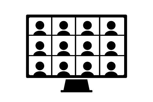 Multiple people icons on a computer monitor. Simple black and white illustration.