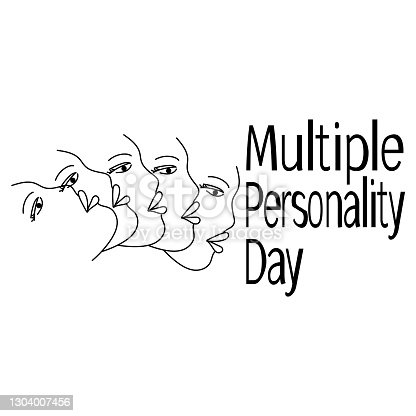 Multiple Personality Day, Profile contour of a human face in plural vector illustration