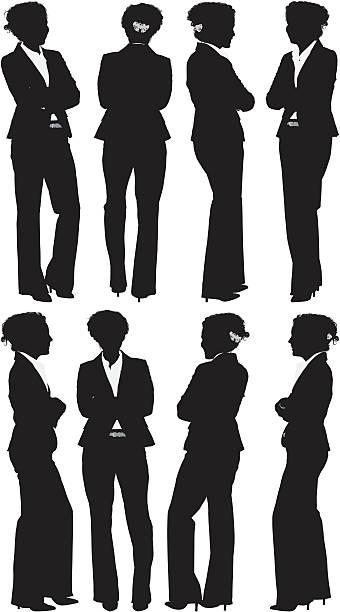 mehrere positionen von einer geschäftsfrau mit arme verschränkt - chefin stock-grafiken, -clipart, -cartoons und -symbole
