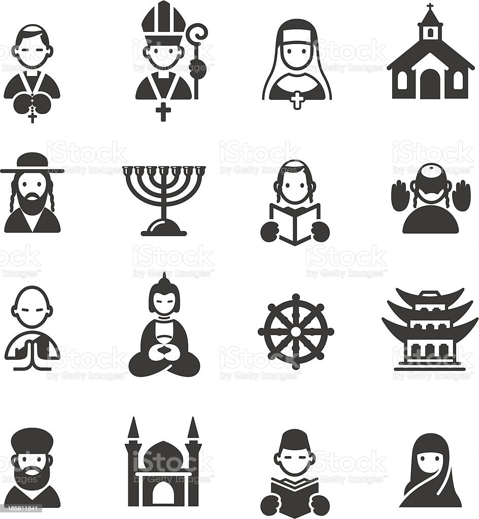 Multiple religion and place of worship icons vector art illustration