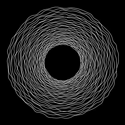 Multiple (tree) rings in uneven concentric orbits, framing copy space.