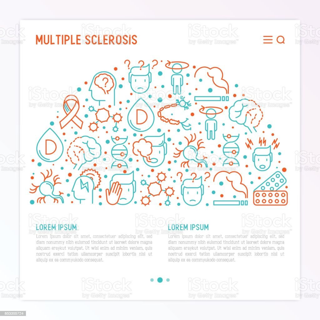 Multiple sclerosis concept in half circle with thin line icons of symptoms and treatments: disorientation, heredity, neuron myelin sheaths, vitamin D. Vector illustration for banner, web page. vector art illustration