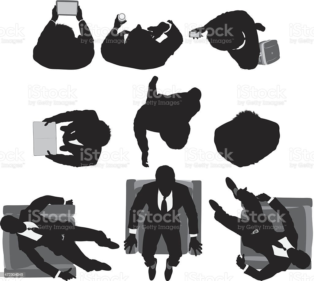 Multiple shot of a businessman in different poses vector art illustration